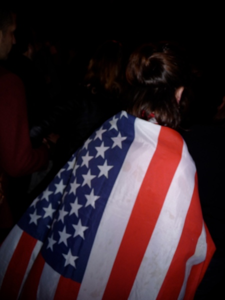San Franciscan Wrapped In US Flag