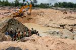Large-scale diamond mining in Kono, Sierra Leone