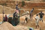 Small-scale miners in Kono, Sierra Leone